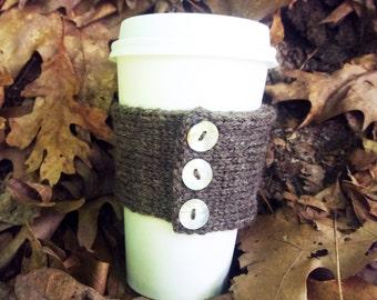 Knitted Coffee Cup Cozy – Wool Coffee Sleeve – Knit Coffee Cozy – Wool Coffee Cup Warmer – Knit Cup Cozy – Knitted Mug Cozy