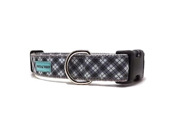 """Grey Plaid Dog Collar 