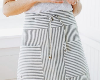 Apron, Half Apron, Kitchen Apron, French Ticking Half Apron