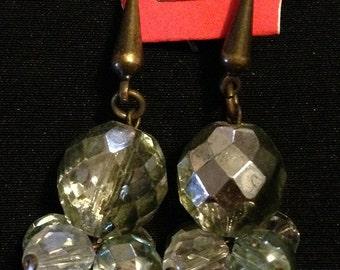 Earrings white Crystal cluster