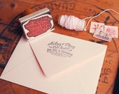 """Calligraphy-inspired Return Address Stamp - Hand Drawn Stamp for Wedding Invitations and Save the Dates - 2.5"""" x 1.5"""" - Audrey"""
