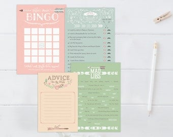 Printable Bridal Shower Games Set. Love Struck Bingo, He Said She Said, Mad Libs, & Advice. Pastel Flowers - Instant download
