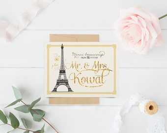 French Bridal Shower Thank You Notes - Parisian Wedding Thank You Cards - Paris Thank You Stationery - Merci Beaucoup - Printable or Printed
