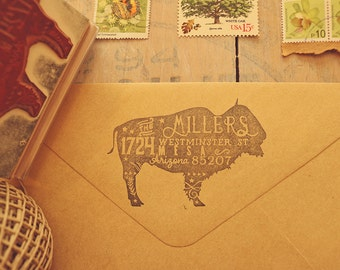 Buffalo Return Address Stamp - Rustic Address Stamp - Rubber Stamp