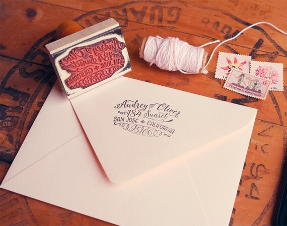 Calligraphy Inspired Return Address Stamp Hand Drawn