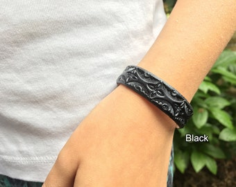 Essential oil diffuser bracelet for aromatherapy - pick from 13 colors - 1/2 inch wide hand tooled leather bracelet with pearl overcoat