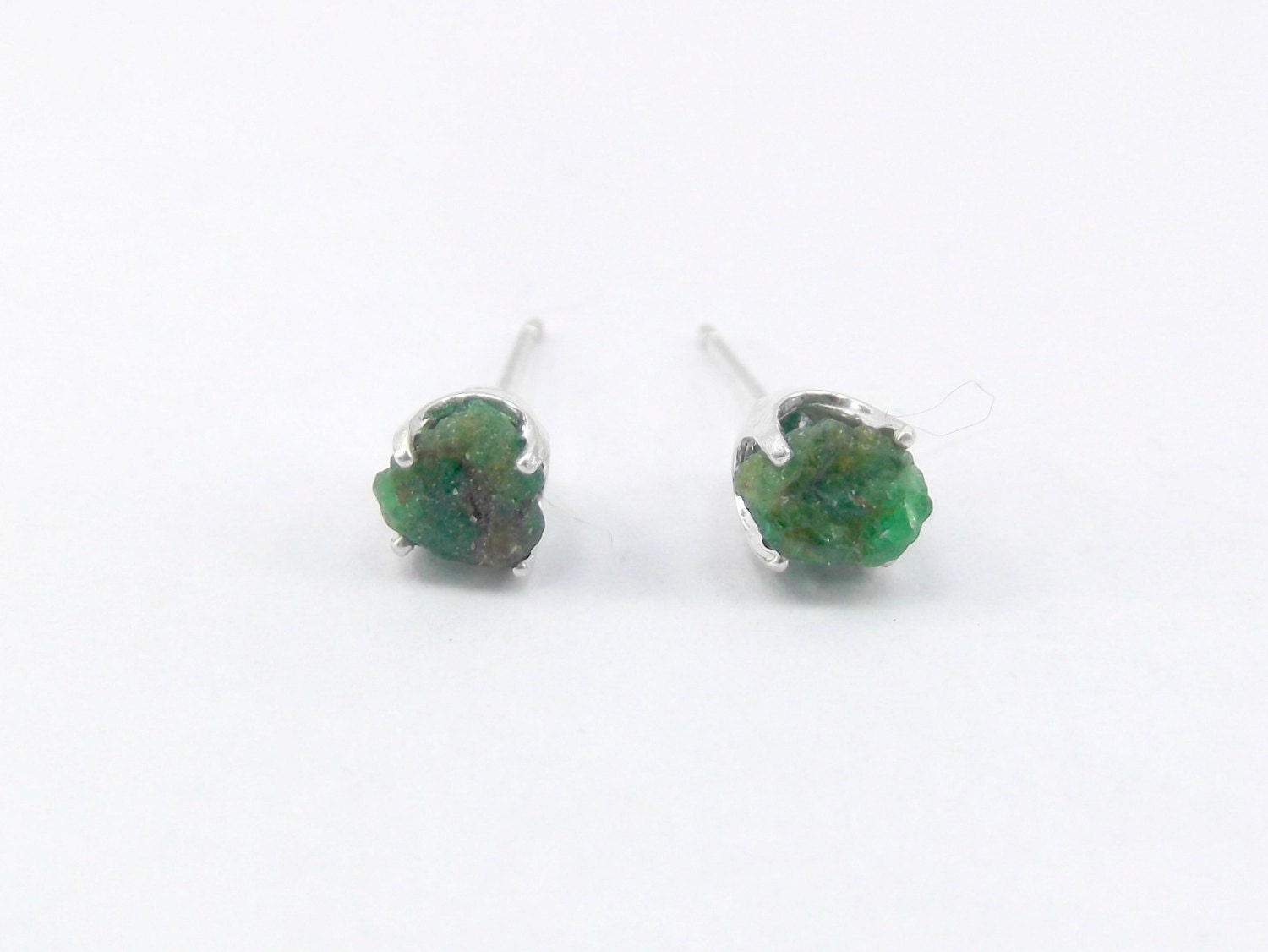 Emerald Earrings Raw Emerald May Birthstone Raw Emerald
