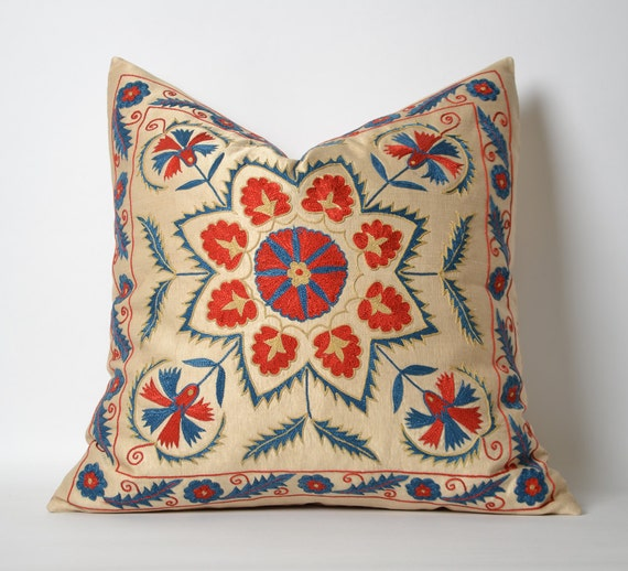 Suzani Cushion Cover Organic Modern Bohemian Throw Pillow
