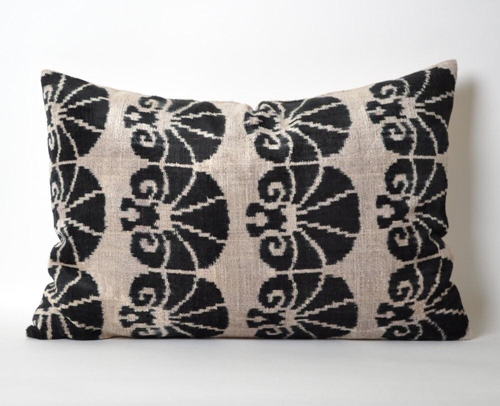 Velvet Ikat Pillow Cover Black Ikat Pillows Modern by pillowme
