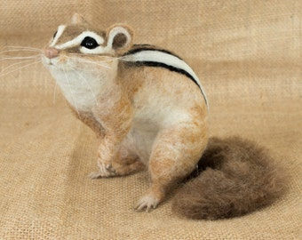 Made to Order Needle Felted Chipmunk: Custom needle felted animal sculpture