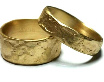 Matching Wedding Rings His and Hers Wedding Rings Promise Rings Gold Rings Unique Wedding Bands Gold Bands Women's and men's wedding bands