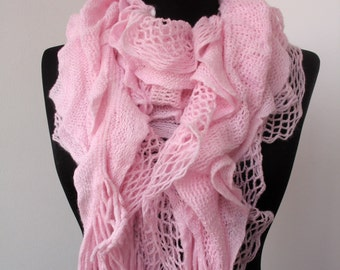 CLEARANCE SALE - Pink Lace Knit Scarf - Ruffle Scarf - Women Fashion Scarf - Soft Long Scarf    966