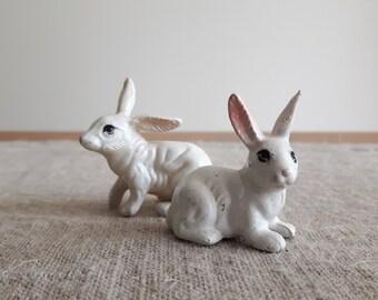 Vintage toy rabbits | white bunnies | hard plastic