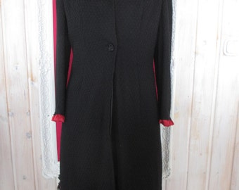L Light weight evening Upcycled Boho Chic Black Wool Lined Coat