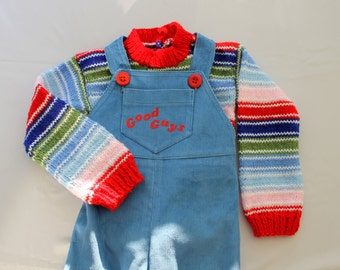 Corduroy overall and sweater Chucky Doll, Good Guys, corduroy pants, overalls