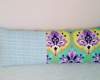 Large 14x36 Pillow Cover and Insert, Amy Butler Love Twill Trumpet Flowers Emerald and Teal Herringbone, Bed, Couch, Throw Pillow Jewel Tone