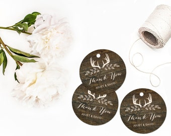 Wood Wedding Tags, Personalized Favor Tags, Wood Tags with Deer Antlers, Rustic Wedding Tags