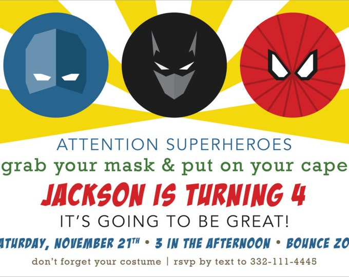 Superhero Favorites | Birthday Party Invitation