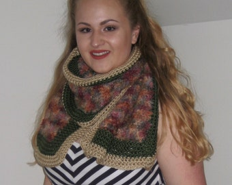 Multicolored Mohair Crochet Shawl with Green and Camel Edging