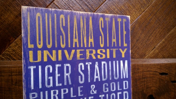 Louisiana State University Distressed Wood Sign--Great Father's Day Gift!