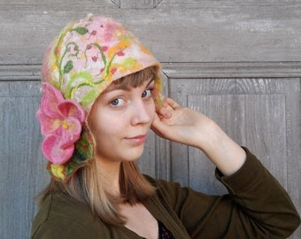 Hand felted cloche hat, designer hat, retro style hat with pink flower and green leaves. OOAK
