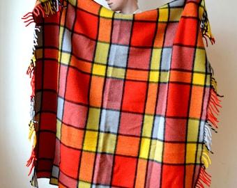 Vintage Wool Windowpane Plaid Throw Blanket - Made in Michigan