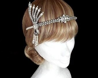 Vintage Great Gatsby Headpiece, Gatsby Headband, Bridal Headpiece, Deco Wedding, 1920's Headpiece, Art Deco Headband, Flapper, Wedding