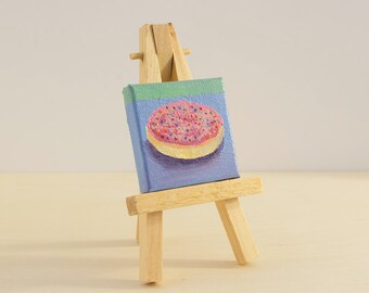 Sugar Cookie Small Painting with Easel, Mini Canvas Art