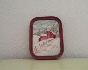 winter sketch vintage embroidery rural farm red barn gray sky fence handmade framed art rustic folk gift holiday winter