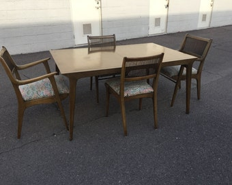 Jan Van Koert For Drexel Profile Series Dining Room Table With Three Leaves  Two Captainu0027s Chairs Part 59