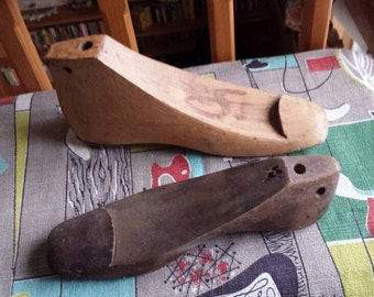 Two Vintage Rustic Hand Made Wooden Shoe Cobbler Lasts Molds Forms