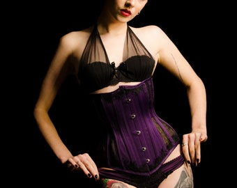 Purple Satin & Black Sheer Steel Boned Underbust Corset with Lace 22 Inch