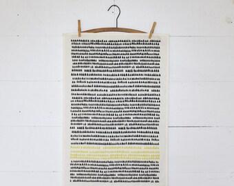 Linen Tea Towel - Minimalist Tea Towel in Grey and Yellow - Modern Kitchen Decor - Hostess Gift - Scandinavian Kitchen Decor - Kitchen Towel