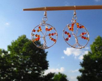 Carnelian tree of life earrings/Wire wrap tree of life earrings/Carnelian earrings/Wire wrapped jewelry/Carnelian jewelry