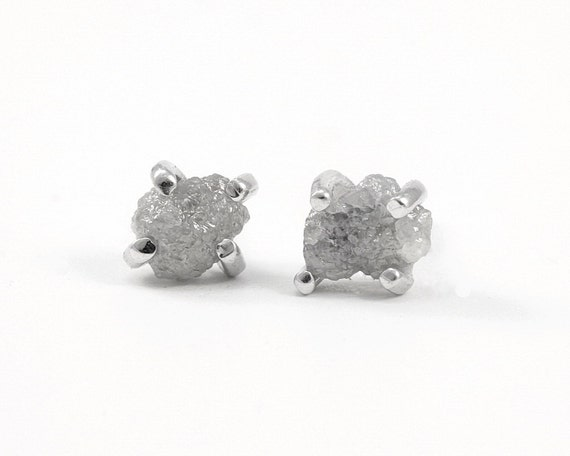 Raw diamond studs Sterling silver grey rough diamond earrings Raw stone jewelry Small silver studs Boho chic jewelry raw diamond earrings