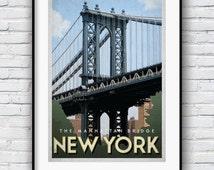 New York Print, New York gifts, Retro Poster, Manhattan Bridge, New York Poster, New York City