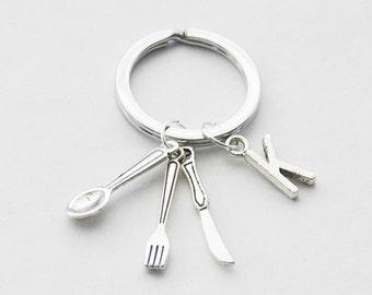 Cook Keychain, Utensils Keychain, Spoon Fork Knife Keychain, Silverware Keychain, Fork Jewelry, Silver Fork Key Ring, Mom Gift, Fork Charm