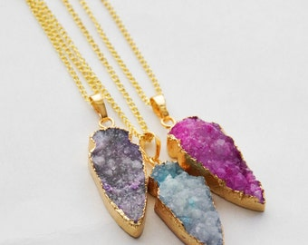 Druzy Necklace, Mother's Day Gift, Mother's Day from Daughter, Gifts for Women, Arrow Necklace, Pendant Necklace, Geode Arrowhead Necklace