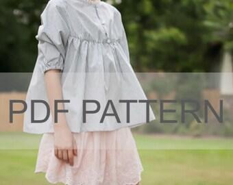 Cali Blouse PDF, girl blouse pdf, girl dress pattern, sewing girl pattern, kids pdf, top girl pattern, boho blouse pdf, sewing pdf