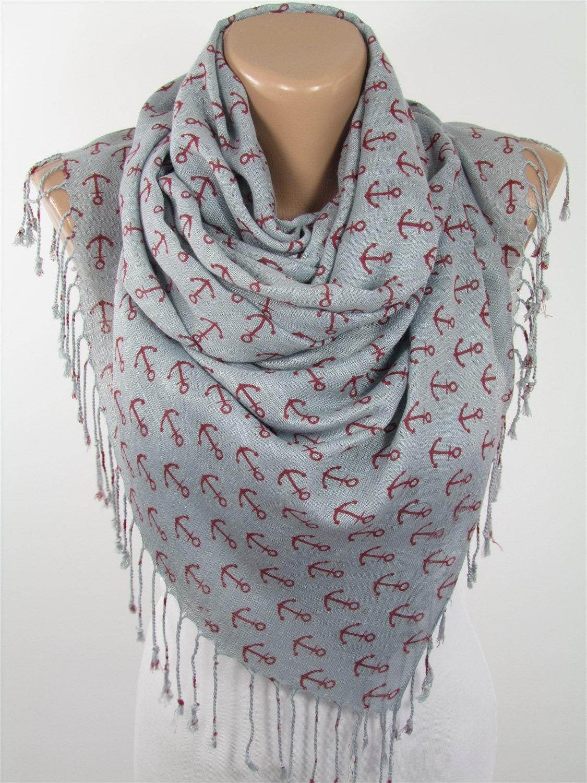 anchor scarf shawl nautical scarf sailor scarf gray