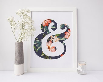 Ampersand Print, Floral Ampersand, Flower Ampersand, Typography Print, Grammar Print, Tropical Flowers, Modern Print, Chic Print