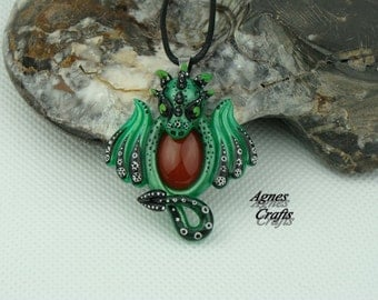 OOAK Dragon pendant, Hand sculpted with polymer clay, gemstone, Carnelian (P136)