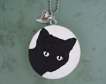 Hand Painted Black Cat Necklace