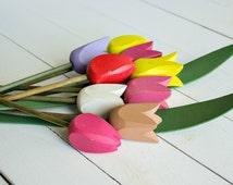Vintage Wooden Tulips, Swedish Handmade Tulips, Spring Decor, Pastel Colored Wooden Decor, Shabby Decor, Handcarved, Scandinavian Folk Art