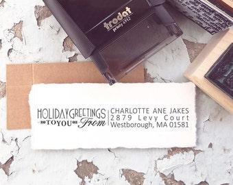 Christmas  Stamp-  Christmas Return Address Stamp, Christmas Card Stamp, To from Stamp, Christmas Stamp, Holiday Stamp, 10148