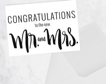 Wedding card to Congratulate the new Mr. and Mrs., blank inside, single or pack of 3
