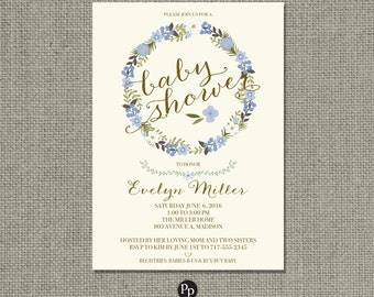 Printable Baby Shower Invitation Card |Flower Wreath and Calligraphy Design | Customize | DIY - No. BFT1-1