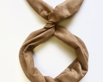 Light Brown Camel Suede- Byrd Band- Bendable Wire Headband