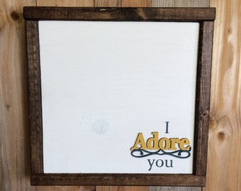 I Adore You Wood Sign - Little Girl Decor - Nursery Decor - Anniversary Gift - Baby Shower Gift - Bedroom Decor - Gift for Her - Love Gift