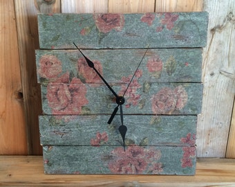 Shabby Chic Wall Clock - Unique Clock -  Floral Clock - Rustic Wood Clock - Rustic Home Decor - Decorative Pallet Clock - Shabby Chic Decor